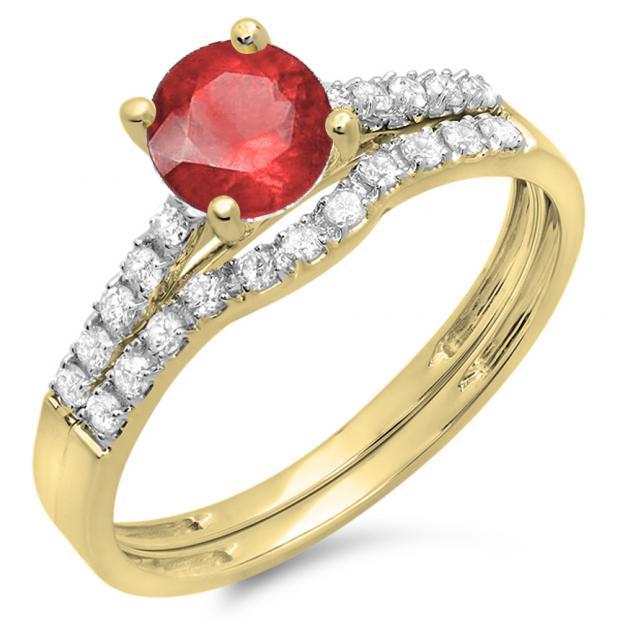 1.25 Carat (ctw) 14K Yellow Gold Round White Diamond & Red Ruby Ladies Bridal Engagement Ring Matching Band Wedding Sets 1 1/4 CT
