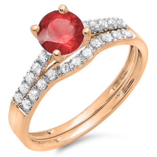 1.25 Carat (ctw) 18K Rose Gold Round White Diamond & Red Ruby Ladies Bridal Engagement Ring Matching Band Wedding Sets 1 1/4 CT
