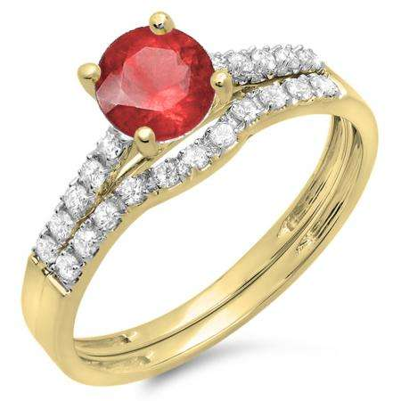 1.25 Carat (ctw) 18K Yellow Gold Round White Diamond & Red Ruby Ladies Bridal Engagement Ring Matching Band Wedding Sets 1 1/4 CT