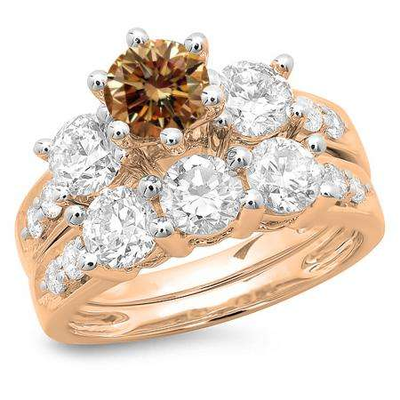 3.10 Carat (ctw) 10K Rose Gold Round Champagne & White Diamond Ladies Bridal 3 Stone Engagement Ring With Matching Band Set 3 1/10 CT