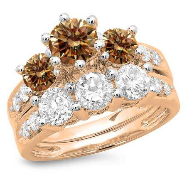 3.10 Carat (ctw) 10K Rose Gold Round Champagne & White Diamond Ladies Bridal 3 Stone Engagement Ring With Matching Band Set 3 1/10 CT