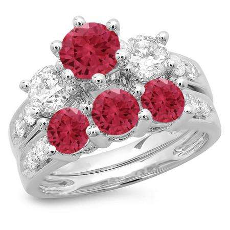 3.10 Carat (ctw) 18K White Gold Round Red Ruby & White Diamond Ladies Bridal 3 Stone Engagement Ring With Matching Band Set 3 1/10 CT