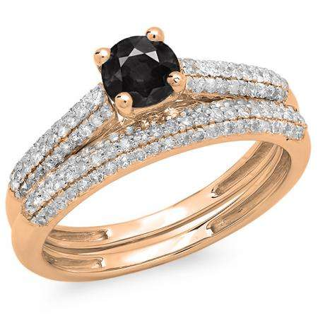 1.00 Carat (ctw) 10K Rose Gold Round Black & White Diamond Ladies Bridal Engagement Ring With Matching Band Set 1 CT