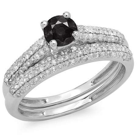 1.00 Carat (ctw) 10K White Gold Round Black & White Diamond Ladies Bridal Engagement Ring With Matching Band Set 1 CT