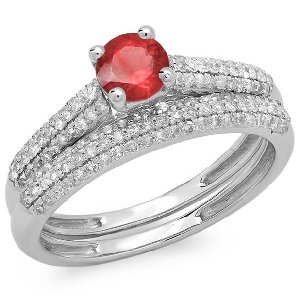 1.00 Carat (ctw) 18K White Gold Round Red Ruby & White Diamond Ladies Bridal Engagement Ring With Matching Band Set 1 CT