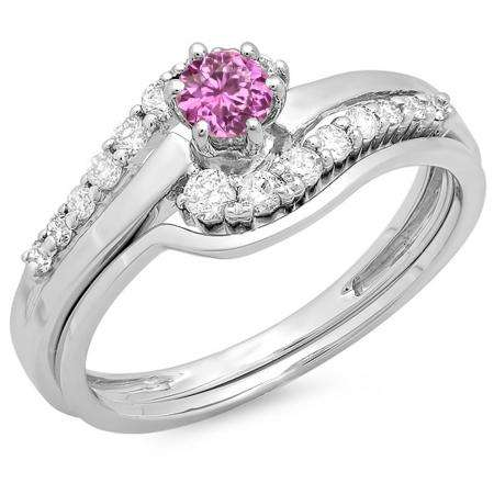 0.55 Carat (ctw) 10K White Gold Round Pink Sapphire & White Diamond Ladies Twisted Style Bridal Engagement Ring With Matching Band Set 1/2 CT