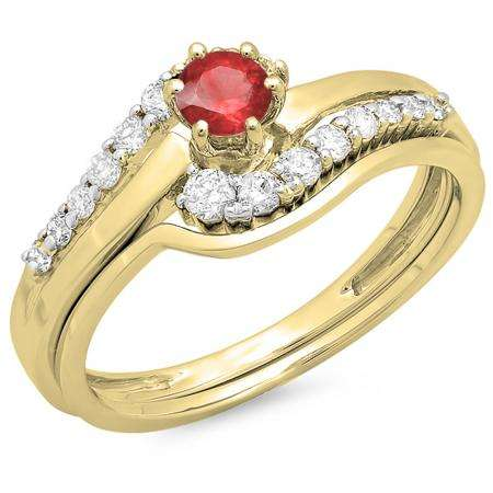 0.55 Carat (ctw) 10K Yellow Gold Round Red Ruby & White Diamond Ladies Twisted Style Bridal Engagement Ring With Matching Band Set 1/2 CT