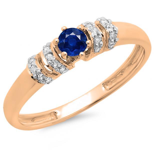 0.25 Carat (ctw) 14K Rose Gold Round Blue Sapphire & White Diamond Ladies Bridal Unique Engagement Ring 1/4 CT