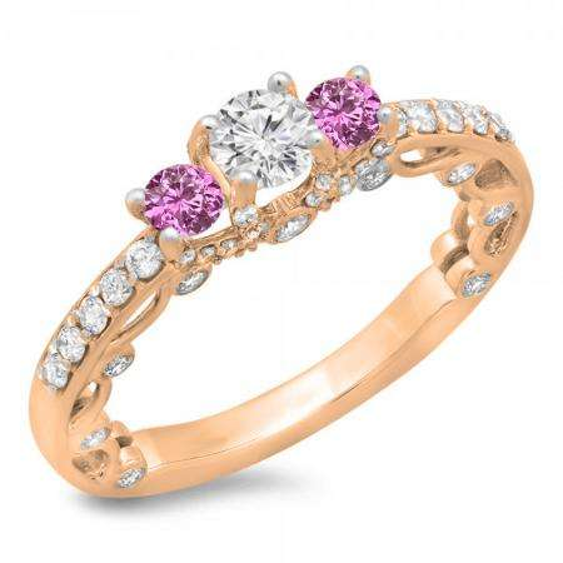 1.15 Carat (ctw) 18K Rose Gold Round Cut Pink Sapphire & White Diamond Ladies Bridal Vintage 3 Stone Engagement Ring