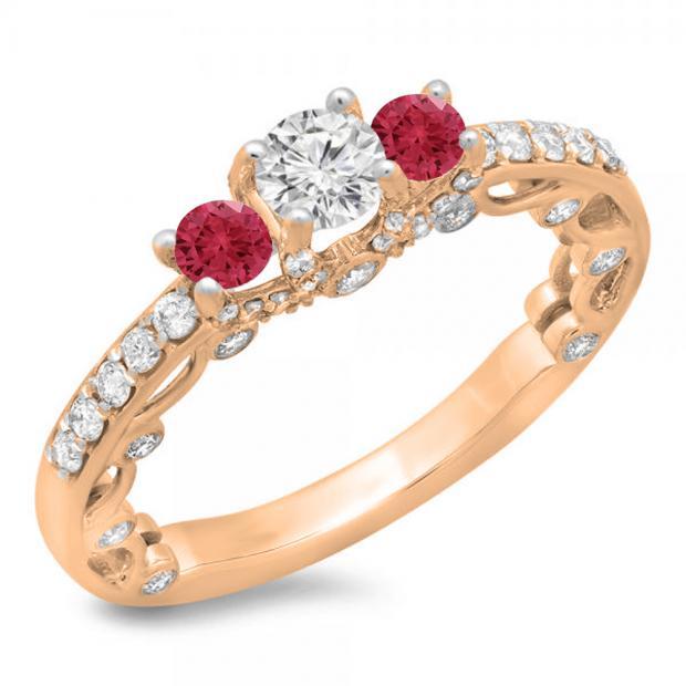 1.15 Carat (ctw) 10K Rose Gold Round Cut Red Ruby & White Diamond Ladies Bridal Vintage 3 Stone Engagement Ring