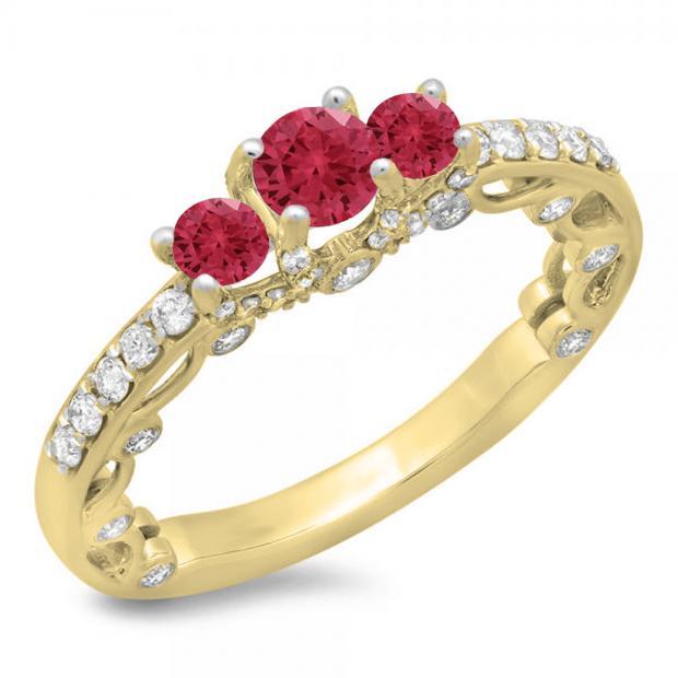 1.15 Carat (ctw) 10K Yellow Gold Round Cut Red Ruby & White Diamond Ladies Bridal Vintage 3 Stone Engagement Ring