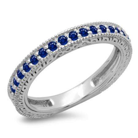 0.33 Carat (ctw) 10K White Gold Round Cut Blue Sapphire Ladies Millgrain Anniversary Wedding Stackable Band 1/3 CT