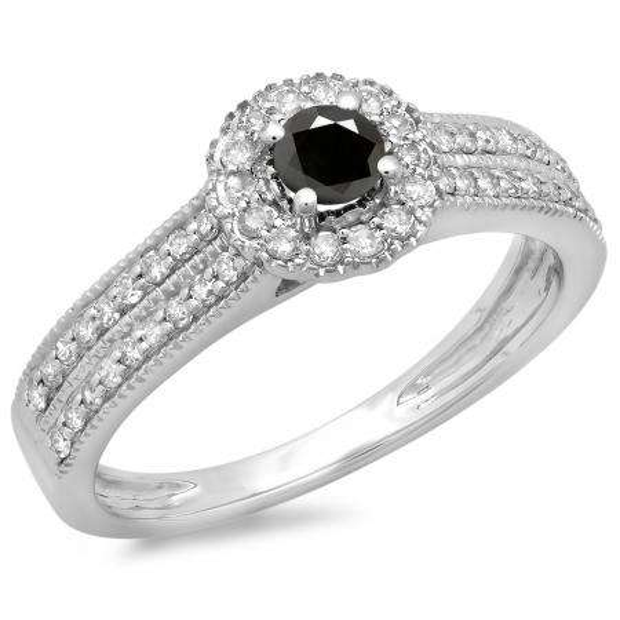 0.50 Carat (ctw) 14K White Gold Round Black & White Diamond Ladies Bridal Halo Style Cluster Engagement Ring 1/2 CT