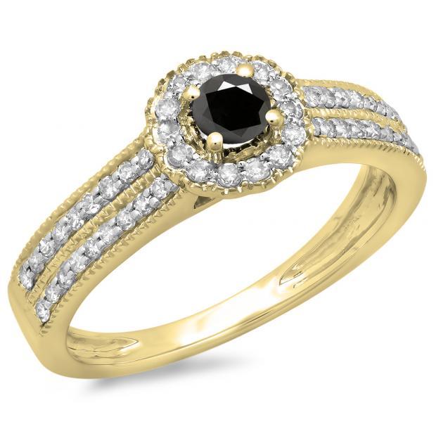 0.50 Carat (ctw) 18K Yellow Gold Round Black & White Diamond Ladies Bridal Halo Style Cluster Engagement Ring 1/2 CT