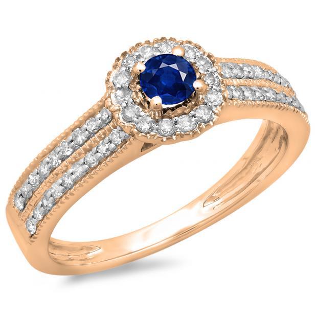 0.50 Carat (ctw) 10K Rose Gold Round Blue Sapphire  & White Diamond Ladies Bridal Halo Style Cluster Engagement Ring 1/2 CT