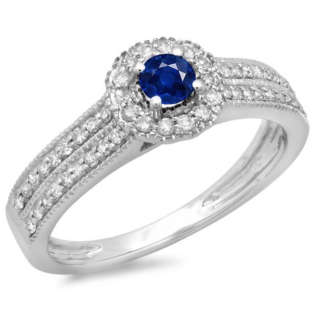 0.50 Carat (ctw) 14K White Gold Round Blue Sapphire  & White Diamond Ladies Bridal Halo Style Cluster Engagement Ring 1/2 CT