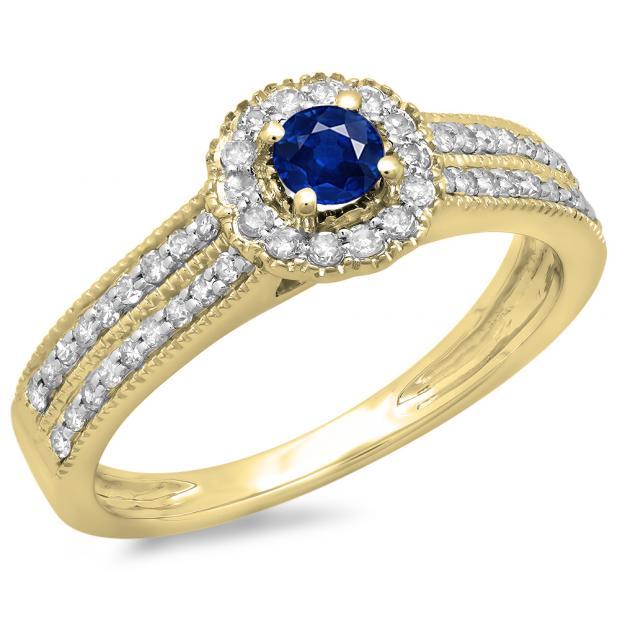 0.50 Carat (ctw) 14K Yellow Gold Round Blue Sapphire  & White Diamond Ladies Bridal Halo Style Cluster Engagement Ring 1/2 CT