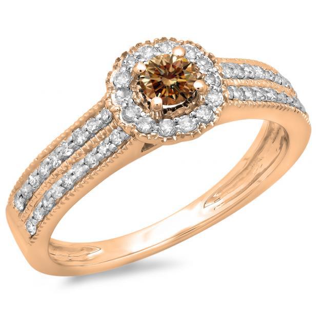 0.50 Carat (ctw) 18K Rose Gold Round Champagne & White Diamond Ladies Bridal Halo Style Cluster Engagement Ring 1/2 CT