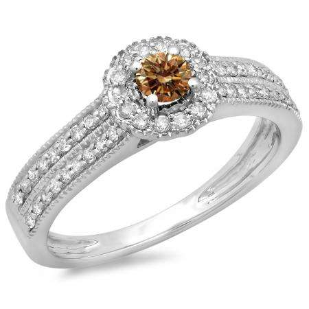 0.50 Carat (ctw) 18K White Gold Round Champagne & White Diamond Ladies Bridal Halo Style Cluster Engagement Ring 1/2 CT