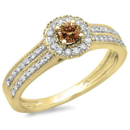 0.50 Carat (ctw) 18K Yellow Gold Round Champagne & White Diamond Ladies Bridal Halo Style Cluster Engagement Ring 1/2 CT