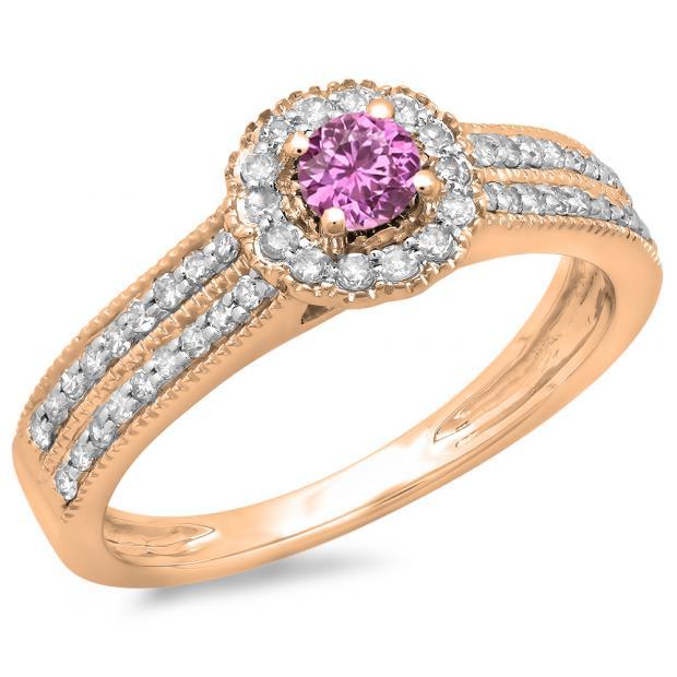 0.50 Carat (ctw) 10K Rose Gold Round Pink Sapphire  & White Diamond Ladies Bridal Halo Style Cluster Engagement Ring 1/2 CT