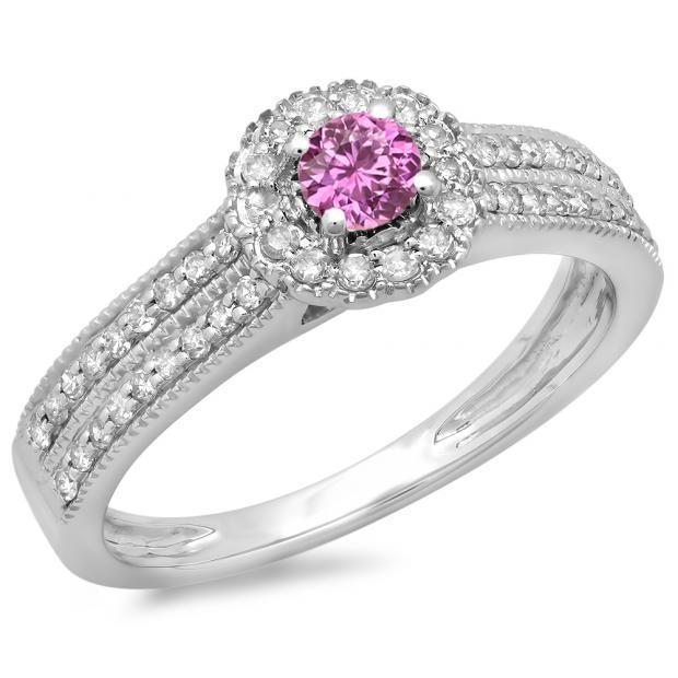 0.50 Carat (ctw) 10K White Gold Round Pink Sapphire  & White Diamond Ladies Bridal Halo Style Cluster Engagement Ring 1/2 CT
