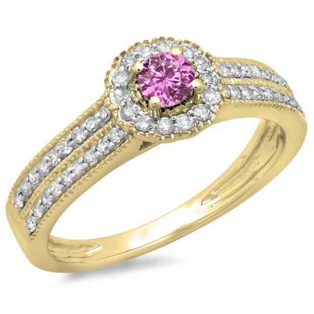 0.50 Carat (ctw) 10K Yellow Gold Round Pink Sapphire  & White Diamond Ladies Bridal Halo Style Cluster Engagement Ring 1/2 CT