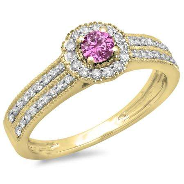 0.50 Carat (ctw) 18K Yellow Gold Round Pink Sapphire  & White Diamond Ladies Bridal Halo Style Cluster Engagement Ring 1/2 CT