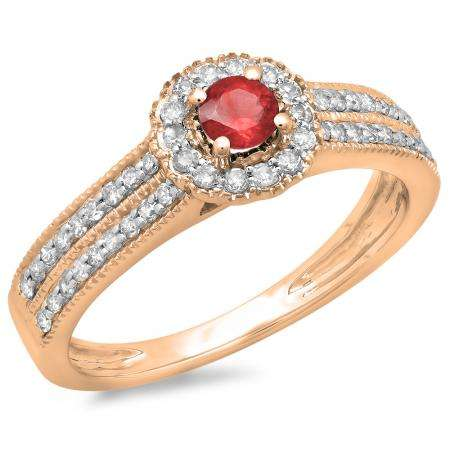 0.50 Carat (ctw) 10K Rose Gold Round Red Ruby  & White Diamond Ladies Bridal Halo Style Cluster Engagement Ring 1/2 CT