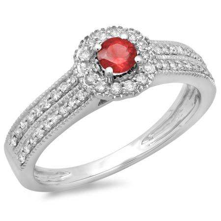 0.50 Carat (ctw) 18K White Gold Round Red Ruby  & White Diamond Ladies Bridal Halo Style Cluster Engagement Ring 1/2 CT