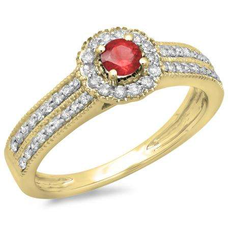 0.50 Carat (ctw) 18K Yellow Gold Round Red Ruby  & White Diamond Ladies Bridal Halo Style Cluster Engagement Ring 1/2 CT