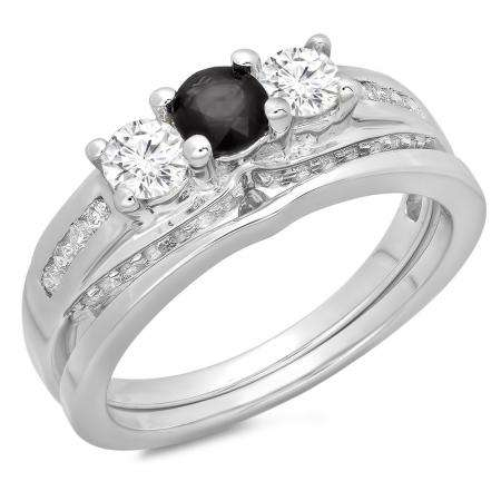 1.10 Carat (ctw) 10K White Gold Round Black & White Diamond Ladies Bridal 3 Stone Engagement Ring With Matching Band Set 1 CT