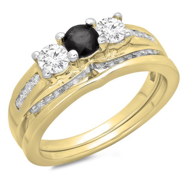 1.10 Carat (ctw) 10K Yellow Gold Round Black & White Diamond Ladies Bridal 3 Stone Engagement Ring With Matching Band Set 1 CT