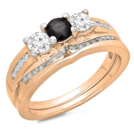 1.10 Carat (ctw) 18K Rose Gold Round Black & White Diamond Ladies Bridal 3 Stone Engagement Ring With Matching Band Set 1 CT