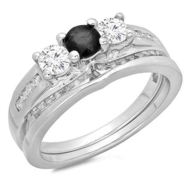 1.10 Carat (ctw) 18K White Gold Round Black & White Diamond Ladies Bridal 3 Stone Engagement Ring With Matching Band Set 1 CT