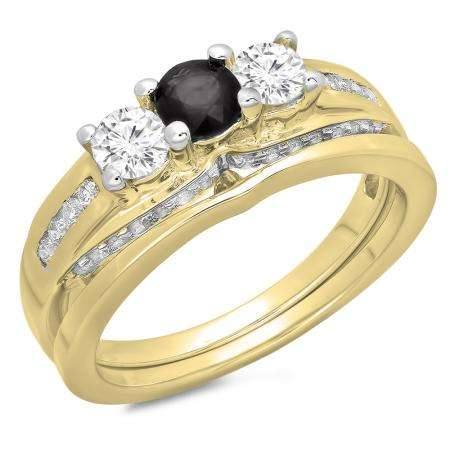 1.10 Carat (ctw) 18K Yellow Gold Round Black & White Diamond Ladies Bridal 3 Stone Engagement Ring With Matching Band Set 1 CT