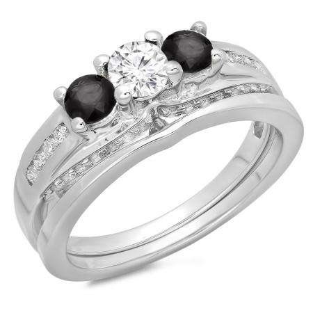1.10 Carat (ctw) 14K White Gold Round Black & White Diamond Ladies Bridal 3 Stone Engagement Ring With Matching Band Set 1 CT