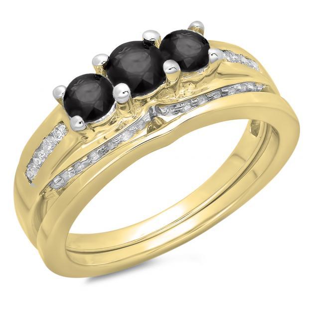 1.10 Carat (ctw) 14K Yellow Gold Round Black & White Diamond Ladies Bridal 3 Stone Engagement Ring With Matching Band Set 1 CT