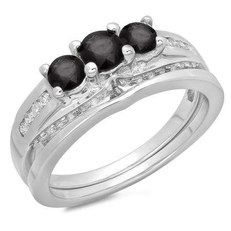 1.10 Carat (ctw) 18K White Gold Round Black & White Diamond Ladies Bridal 3 Stone Engagement Ring With Matching Band Set 1 CT