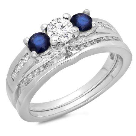 1.10 Carat (ctw) 18K White Gold Round Blue Sapphire & White Diamond Ladies Bridal 3 Stone Engagement Ring With Matching Band Set 1 CT