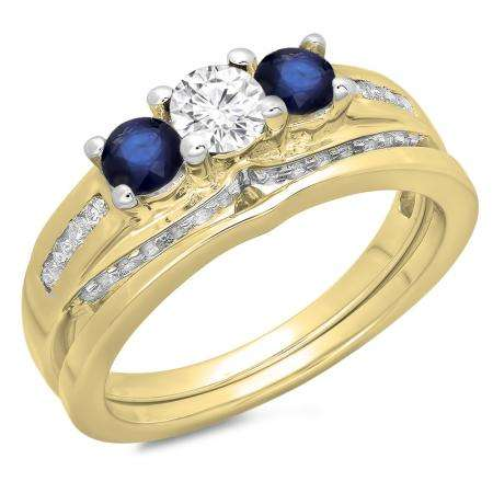 1.10 Carat (ctw) 18K Yellow Gold Round Blue Sapphire & White Diamond Ladies Bridal 3 Stone Engagement Ring With Matching Band Set 1 CT
