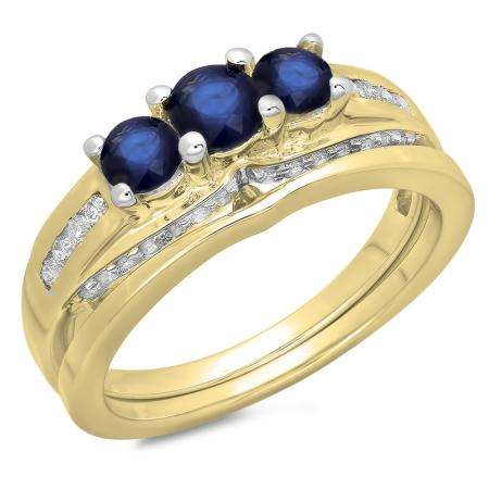 1.10 Carat (ctw) 10K Yellow Gold Round Blue Sapphire & White Diamond Ladies Bridal 3 Stone Engagement Ring With Matching Band Set 1 CT
