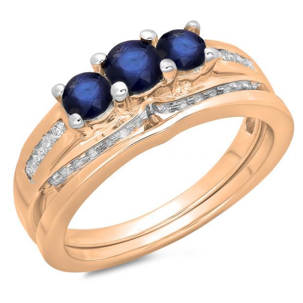 1.10 Carat (ctw) 18K Rose Gold Round Blue Sapphire & White Diamond Ladies Bridal 3 Stone Engagement Ring With Matching Band Set 1 CT