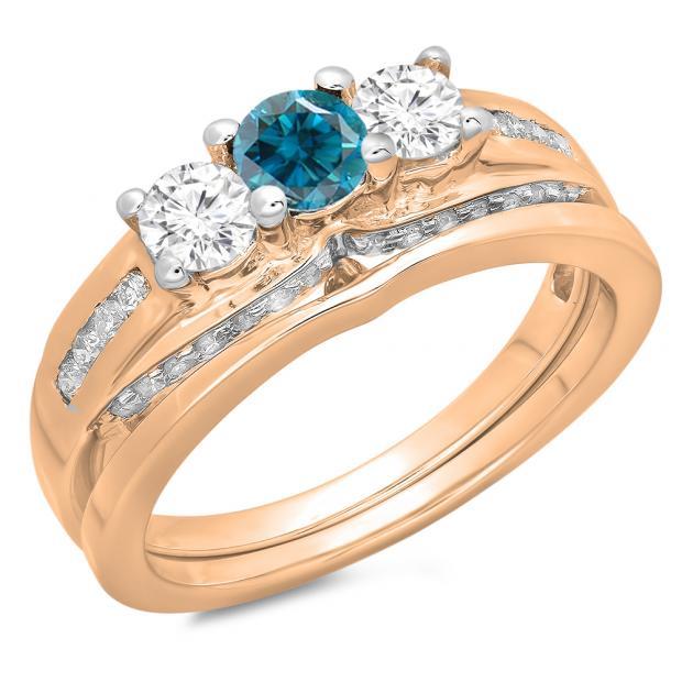 1.10 Carat (ctw) 10K Rose Gold Round Blue & White Diamond Ladies Bridal 3 Stone Engagement Ring With Matching Band Set 1 CT