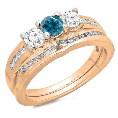 1.10 Carat (ctw) 18K Rose Gold Round Blue & White Diamond Ladies Bridal 3 Stone Engagement Ring With Matching Band Set 1 CT