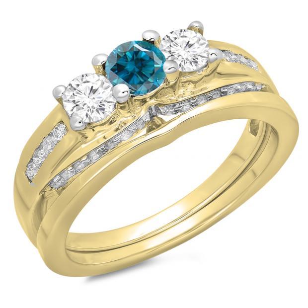 1.10 Carat (ctw) 18K Yellow Gold Round Blue & White Diamond Ladies Bridal 3 Stone Engagement Ring With Matching Band Set 1 CT