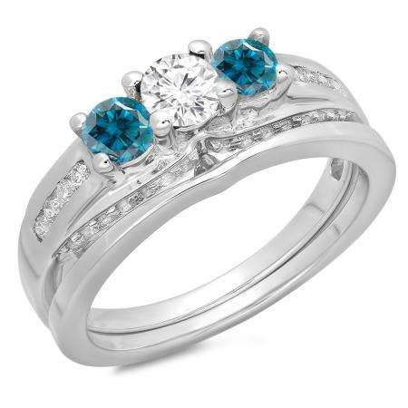 1.10 Carat (ctw) 18K White Gold Round Blue & White Diamond Ladies Bridal 3 Stone Engagement Ring With Matching Band Set 1 CT