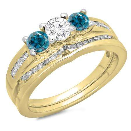 1.10 Carat (ctw) 18K Yellow Gold Round Blue & White Diamond Ladies Bridal 3 Stone Engagement Ring With Matching Band Set 1 CT