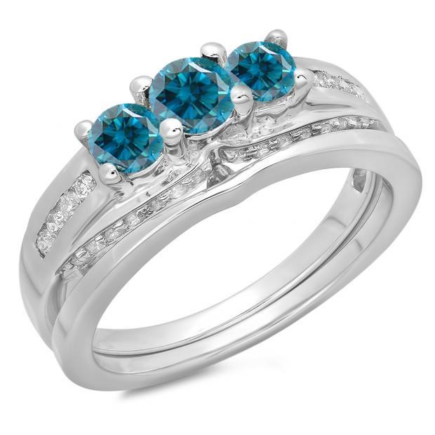 1.10 Carat (ctw) 10K White Gold Round Blue & White Diamond Ladies Bridal 3 Stone Engagement Ring With Matching Band Set 1 CT