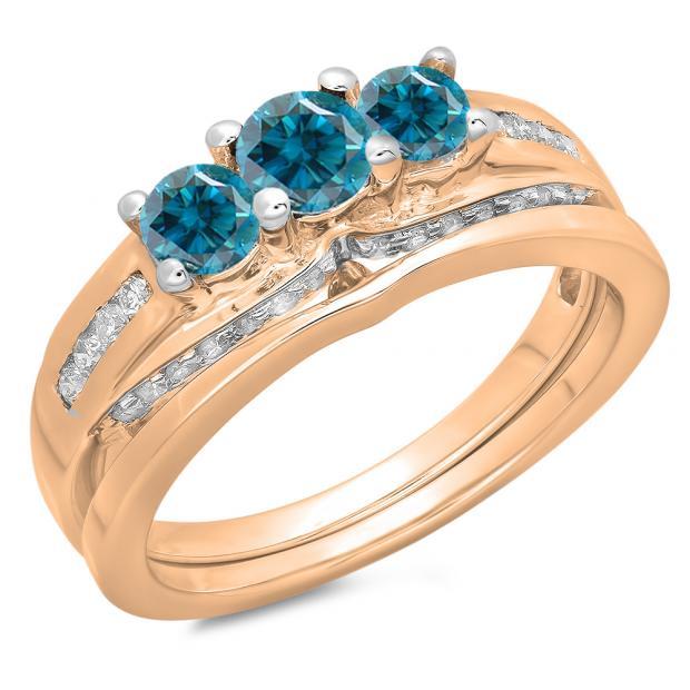 1.10 Carat (ctw) 18K Rose Gold Round Blue & White Diamond Ladies Bridal 3 Stone Engagement Ring With Matching Band Set 1 CT